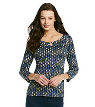 Rafaella® Sea Blue Printed Hardware Keyhole Top