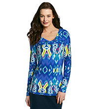 Jones New York Signature® Long Sleeve Printed Knit V-Neck Top