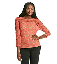 Fever™ Openwork Crochet Balletneck Top