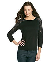 Cable & Gauge® Lace Shoulder Inlay Sweater