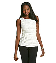 Cable & Gauge® Sleeveless Drapeneck Lace Knit