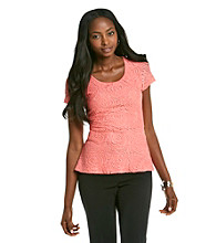 Cable & Gauge® Short Sleeve Lace Top