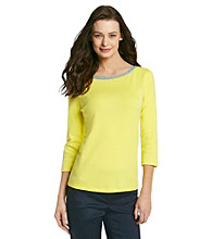 Jones New York Signature® Solid Colored Chambray Trimmed Boatneck Top