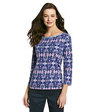 Jones New York Signature® Stained Glass Print Chambray Trimmed Boatneck Top