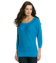 Spense® Knits Triangle Detail Scoopneck Elbow Sleeve Sweater