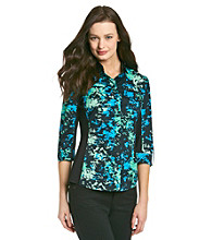 T Tahari Topanga Printed Button Down Blouse