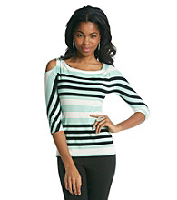 Vince Camuto® Cutaway Shoulder Varied Stripe Top