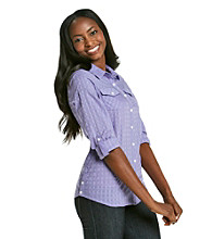 Relativity® Casual Dot Purple Shirt