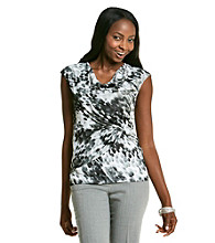 Relativity® Career Drapeneck Mesh Top