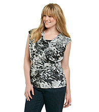 Relativity® Career Plus Size Drapeneck Mesh Top