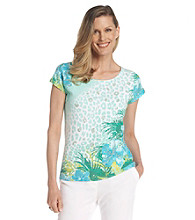 Ruby Rd.® Scoop Neckline All Over Placement Print Sequin Top