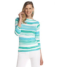 Ruby Rd.® Boat Neckline Stripe Print Top