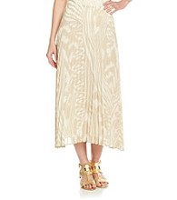 Ruby Rd.® All Over Ikat Wave Print Full Length Pleated Chiffon Shirt