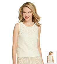 Ruby Rd.® Scoop Neckline Flower Applique Lace Top