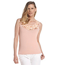 Ruby Rd.® Scoop Neckline Rosette Sequin Sweater