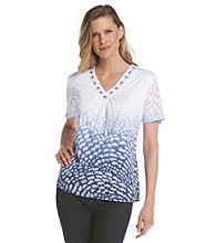 Alfred Dunner® V-Neckline with Embellishment Burnout Top