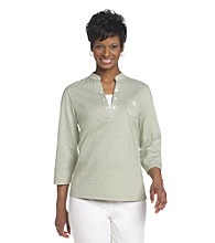 Cathy Daniels® Mandarin Collar with Half Button Up Closure Top