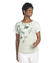 Cathy Daniels® Scoop Neckline Stripe And Floral Print Top