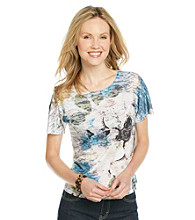 Breckenridge® Blue Floral Sublimation Tee