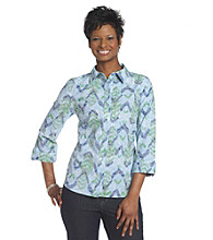 Breckenridge® Petites' Blue Grotto Arrow Print Woven Burnout Shirt