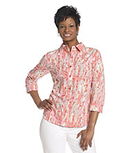 Breckenridge® Cherry Coral Paint Splatter Burnout Woven Shirt
