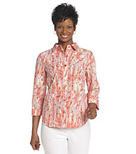 Breckenridge® Petites' Cherry Coral Paint Splatter Burnout Woven Shirt