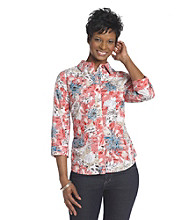 Breckenridge® Energy Red Tiger Lilies Burnout Woven Shirt
