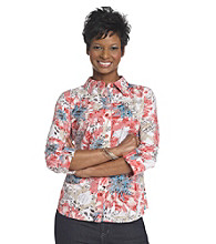 Breckenridge® Petites' Energy Red Tiger Lilies Burnout Woven