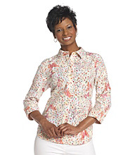 Breckenridge® Petites' Sugarwater Butterflies Burnout Woven Shirt