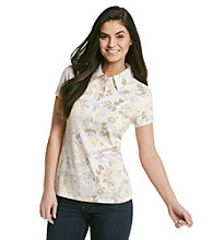Gloria Vanderbilt Rose Print Short Sleeve Polo