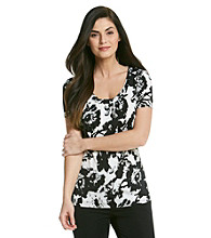 Laura Ashley® Smudge Floral Scoopneck Top