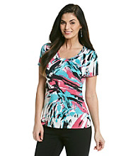 Laura Ashley® Brush Print Scoopneck Top