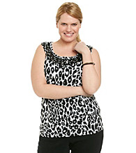 Laura Ashley Plus Size Sequin Animal Print Tank