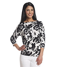 Laura Ashley® Petites' Smudge Floral Banded Bottom Top
