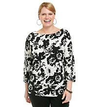 Laura Ashley® Plus Size Smudge Floral Banded Bottom Top