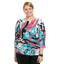 Laura Ashley® Plus Size Brush Print Banded Bottom Top