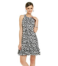 MSK® Sleeveless Halter Tiered Hem Animal Print Dress