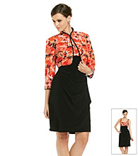 MSK® Mandarin Collar Printed Jacket Dress