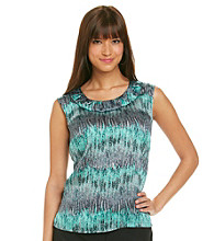 Kasper® Plus Size Ruched Scoopneck Printed Cami