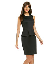 Nine West® Scuba Peplum Sweetheart Seamed Dress