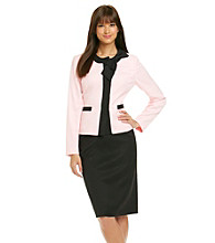 Le Suit® Contrast Bow Trim Jacket with Skirt