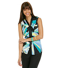 Nine West® Rio Buttonfront Printed Tie Neck Cami