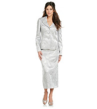 Le Suit® Plus Size Jacquard Inverted Pleat Collar Jacket with Skirt