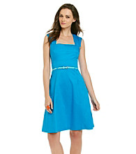 Calvin Klein Full Skirt Cotton Sundress With Skinny Belt
