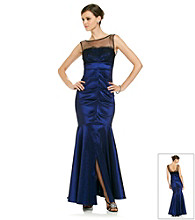 Xscape Taffeta Ruched Front Illusion Top Gown