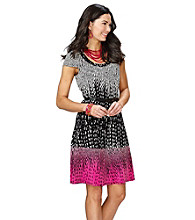 Anne Klein® Belted Art Deco Swing Dress