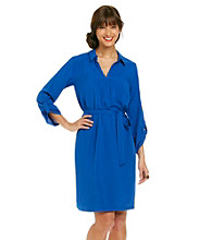 AGB® Solid Belted Shirt Dress