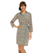 AGB® Print Belted Shirt Dress