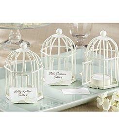 Kate Aspen Set of 6 Ivory Spring Song Birdcage Tea Light-Place Card Holder