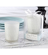 Kate Aspen Hugs and Kisses Frosted glass Tealight Holder